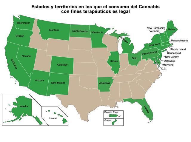 Estados donde la marihuana medicinal es legal en EEUU